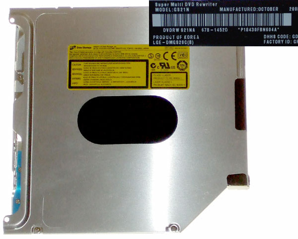 HL GS21N SATA super-slim superdrive, Apple branded