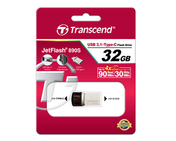 Transcend JetFlash 890S - USB 3.1 + Type C - 64GB