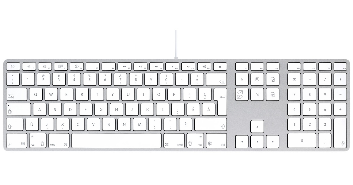 Apple Aluminium Keyboard, USB Extended, Belgian/French