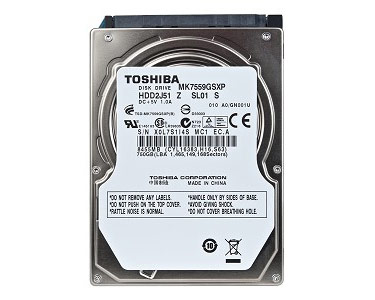 "Apple branded Toshiba 750GB 2.5"" SATA hard disk, 5,400rpm"