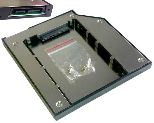 Optical to hard drive/SSD caddy, SATA to SATA, 9.5mm