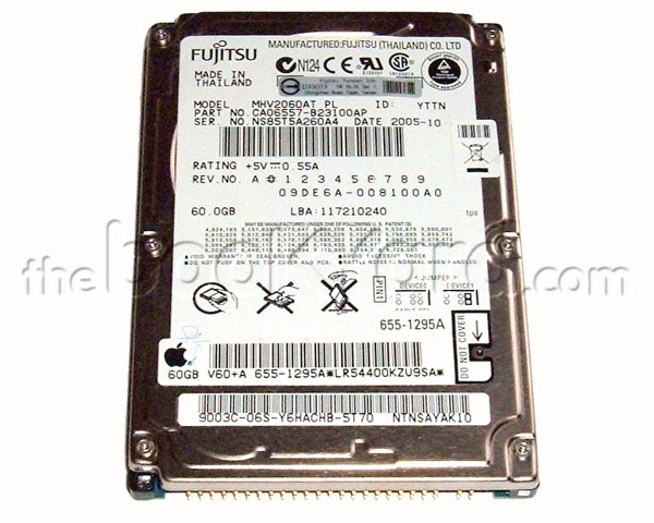 Apple branded 60GB ATA notebook hard disk, Fujitsu