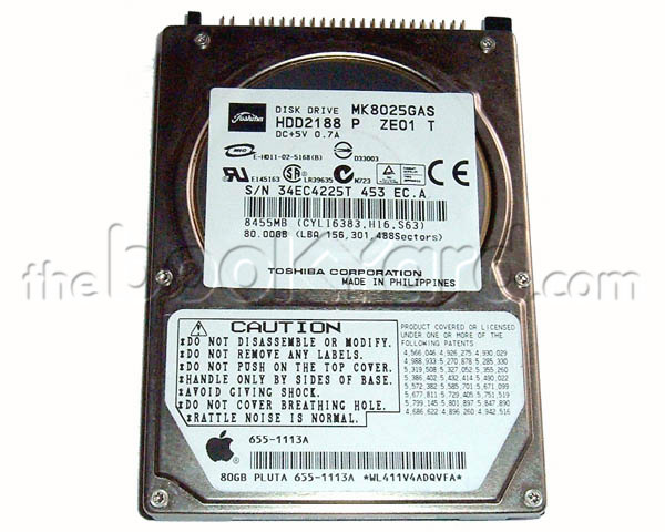 Apple branded 80GB ATA notebook hard disk, Toshiba