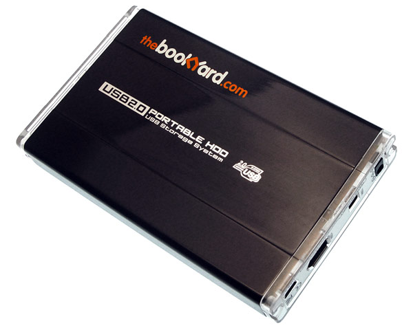 "The Bookyard 2.5"" SATA hard disk enclosure, USB 2.0/FireWire 400"