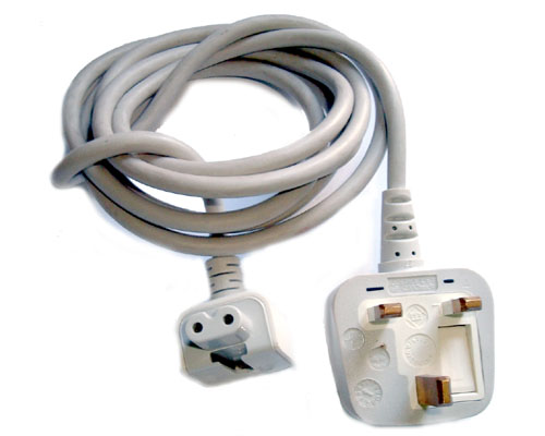 Mains lead for Apple white laptop power supply - UK